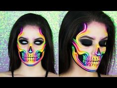 Whether you're planning weeks in advance or need a last-minute idea, we found makeup tutorials to try for every skill level. In need of the perfect sugar skull look for Day of the Dead? Don't worry, we've got that too. Halloween Makeup Clown, Halloween Inspo, Clown Makeup, Halloween Skull, Skeleton Makeup Tutorial, Skull Face Paint, Rainbow Makeup, Unicorn Makeup, Neon Rainbow
