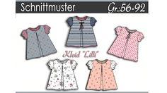"""Hier angeboten wird die ausführliche Nähanleitung und das Schnittmuster für das Kleidchen """"Lilli"""". Das """"Ausgehkleidchen"""" hat vorne eine Falte,endet unter dem Knie und wird auf dem Rücken geknöpft. Einfacher Schnitt,für Anfänger geeignet. Das Schnittmuster ist für Babys/Kleinkinder in der Gr:56-92. Alles ist Schritt für Schnitt erklärt mit Bildern und Texten. Schnittmuster ist für Jerseyqualitäten und Gewebe geeignet. Die Anleitung und der Schnitt wird als Ebook angeboten im pdf-Format…"""