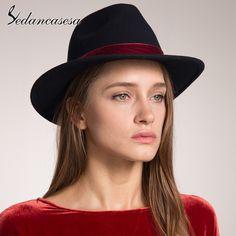 dafc1d90 Spring Woman Mens Fedora Hat Felt Caps With Red Band Black Women Wool Felt  Hats Fast