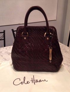 Cole Haan Genevieve MINT! Woven Leather Weave Brown Satchel Tote Hand Bag Purse #ColeHaan #Satchel ABSOLUTELY GORGEOUS!!! MINT, LIKE NEW CONDITION!!! VERY RARE!!! NO LONGER MADE!!! BEAUTIFUL WOVEN LEATHER WEAVE FRAMED SATCHEL BAG IN A RICH, LUSCIOUS CHOCOLATE BROWN COLOR!!! TOTALLY STUNNING AND AMAZING!!! LIKE A DOCTOR-STYLE BAG!!! CLASSIC AND MODERN!!! ONLY ONE!!! SALE!!! WOW!!!