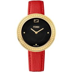 Fendi My Way Removable Fox Fur-Trimmed Goldtone Stainless Steel... (13.262.350 IDR) ❤ liked on Polyvore featuring jewelry, watches, red, leather watches, engraving watches, dial watches, fendi watches and red watches