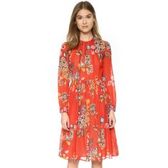MSGM Long Sleeve Dress ($880) ❤ liked on Polyvore featuring dresses, red multi, pleated dress, red dress, print dress, red pattern dress and ruched waist dress