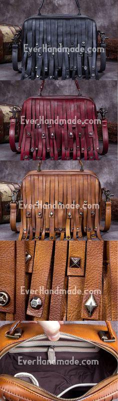 Genuine Leather Handbag Vintage Rivet Tassel Bag Crossbody Bag Shoulder Bag Purse For Women Leather Handbags, Leather Bags, Vintage Handbags, Purse Wallet, Tan Leather, Purses And Bags, Tassel, Crossbody Bag, Shoulder Bag
