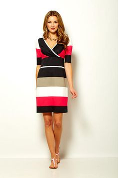 Philanthropic apparel designer Sara Campbell creates timeless silhouettes for women. Based in Boston, the collection is made in the USA. Boston Shopping, Stripe Dress, Summer 2015, High Neck Dress, Dresses For Work, Stripes, Couture, Lady, House