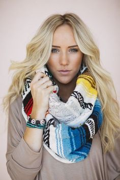 Serape + Lace Blanket Infinity Scarf BACK IN STOCK! Southwestern and Mexican blankets paired with lace from Three Bird Nest #serape