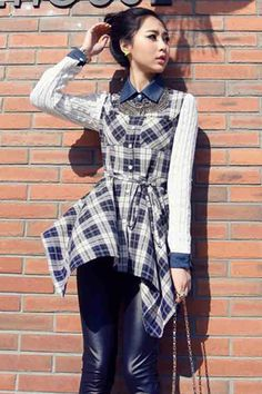 Irregular Fake Two Piece Retro Plaid Shirt #Irregular #Shirt #maykool