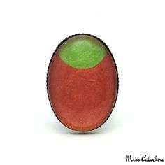 Oval fashion ring - Green Moon on Orange - The #jewelry of the day! More info at misscabochon.com