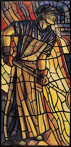 Worker by W.A. van de Walle, a Dutch artist. One of stained glass windows made for trade union buildings. These designs date from 1927-1940,
