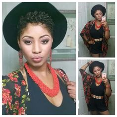 Her overall look is so cute, and I'm loving her afro crop with this floppy hat!
