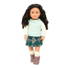 • Sturdy plastic construction  • Sweet, natural appearance  • Soft brown hair    Your kids will love to play with the Our Generation Regular Doll - Abril. Indoors or out, this girl can go everywhere with the kids in her little outfit of a side-zip cool green sweater; argyle green, grey and black skirt; long-sleeve white shirt and matching socks; and excellent grey boots with a shiny gold buckle. She's ready to play or do chores together.