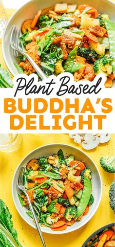 This easy Buddha's Delight recipe (or Lo Han Jai) is the ultimate veggie-packed dinner that's packed with flavor, veggies, and seitan! It's a healthy dinner recipe that your family will love. #vegan #vegetarian #stirfry #seitan Vegetarian Recipes Easy, Healthy Dinner Recipes, Vegan Vegetarian, Tasty, Yummy Food, Vegetable Bowl, Seitan, Stir Fry, Veggies