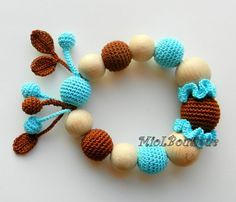 Baby teether Baby Toy Rattle Crochet Wood teether Crochet teething toy Gift for baby girl Brown Turquoise Eco toy, Eco Friendly Colours - bright