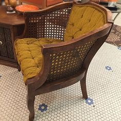 #Vintage #Bohemian #Tufted #Velveteen #Cane #ArmChair #1970s -Click On Link For All Info Modern Bohemian, Vintage Bohemian, Mid-century Modern, Mid Century Modern Furniture, 1970s, Accent Chairs, Armchair, Link, Inspiration