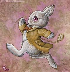 """I have finally figured out how to depict my experience and struggle with BPD into an image that can hopefully be put into ink form.   A) I think this rabbit is cute, and its character is full of immense anxiety.  B) The caption should read """"We're all mad here."""" Perfectly describes that, although I am """"mad"""", I am not alone.  C) Somewhere there will be the Mad-hatter's Hat."""