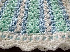 NEW Handmade Crochet Baby Blanket Afghan ( white green blue ) Newborn