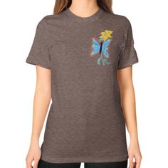 Blue Butterfly and Yellow Flower Unisex T-Shirt (on woman)
