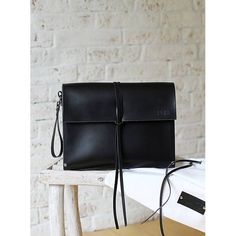 PRODUCTS :: WOMAN :: ACCESSORIES :: Handbags :: Business bags :: Wristlet leather bag PORTFOLIO BLACK