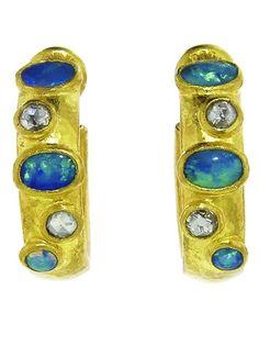 GURHAN Opal And Diamond Hoop Earrings