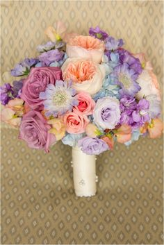 Lavender and coral bouquet ~ Photo: JW Baugh Photography