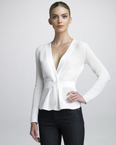 Perforated Knit Jacket by Armani Collezioni: Bergdorf Goodman
