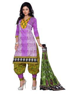 #Cotton Printed Purple Unstitched Suit #womenswear #fashion #clothing  #SalwarKameez  #SuitSet  #navrarti #suitset #navratri2015 #StayTrendyWithIndiaRush #StayTrendy