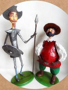 Dom Quixote e Sancho Pança - Don Quijote y Sancho Panza - Paper Mache  www.alegriadopapel.blogspot.com