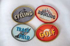 Golf, Track & Field, Bowling, Cycling Magnetic Plaques for your Medal Display Frame!   Sport Bling Displays