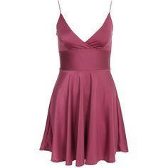 Club L Essentials Cami Strap Satin Skater Dress (€8,70) ❤ liked on Polyvore featuring dresses, strappy cami, purple skater dress, jersey dress, satin cami and tall dresses