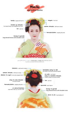 - Maiko old-Edo costume [full size / other charts] Maiko are Geisha apprentices. In Edo period, that mean they were young girls and their attire reflected their tender age (nowadays, Maiko are mostly in their late teens/early but outfit. Japanese Geisha, Japanese Kimono, Traditional Fashion, Traditional Outfits, Kimono Japan, Japan Fashion, 20s Fashion, Fashion Outfits, Japanese Outfits