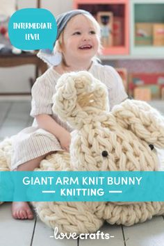 Put a smile on your little ones face with this giant arm knit bunny! | Downloadable PDF at LoveCrafts.com