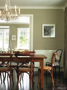 The black and white cowhide chair in the dining area was bought in Wellington