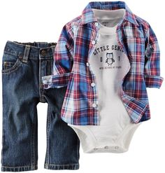 Amazon.com: Carter's Baby Boys' 3 Piece Plaid Top Set (Baby): Clothing