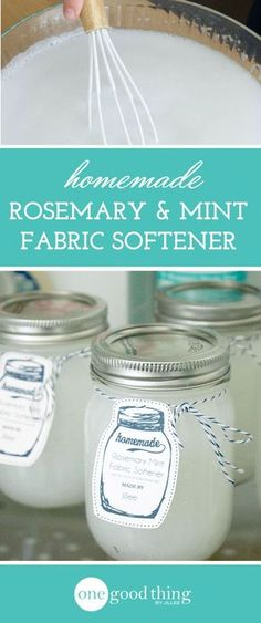 Homemade Rosemary and Mint Fabric Softener. This homemade fabric softener has a rosemary and mint scent that's irresistible, but not overpowering. You'll wonder why you didn't make it sooner! Homemade Cleaning Products, Cleaning Recipes, House Cleaning Tips, Natural Cleaning Products, Cleaning Hacks, Diy Hacks, Cleaning Supplies, Household Products, Cleaning Solutions
