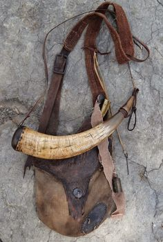 http://contemporarymakers.blogspot.com/2014/09/hunting-pouch-with-powder-horn-and.html