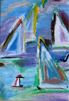 8x10 Sail Boat Art Oil Pastels c.2002 by theZstore on Etsy, $25.00