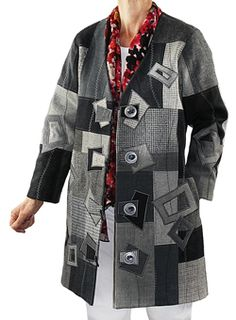 A grea wool coat made from recycled wool clothing