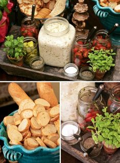 BRUSCHETTA BAR- Bruschetta is a perfect party food — it's easy to make in large batches and can be made ahead and chilled until party time. ...