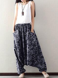 O-NEWE Loose Printed Elastic Waist Pockets Harem Pants For Women