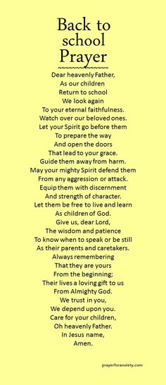 Let the Spirit of the Lord go before them. A back to school prayer to start the…