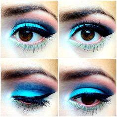 cute bright blue eye shadow