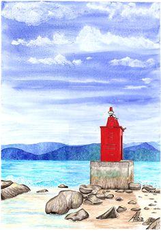 Lighthouse Cardos. Ocean Atlantic. Watercolour