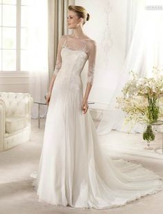 Sheer neckline A-line chiffon and lace wedding dress with beadings and sleeves FSPW187 - Click Image to Close