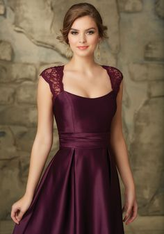 Lace and Satin Bridesmaid Dress with Keyhole Back Designed by Madeline Gardner. Keyhole Zipper Back. Shown in Eggplant. Colors available: all Solid Lace Colors.