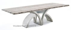 Contemporary Stainless Steel Metal Base Table with Wood Top   Woodland Creek Furniture