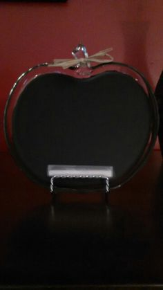 An apple plate I made into a chalkboard for a teacher gift