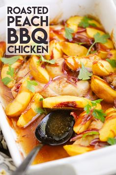 Roasted Peach BBQ Chicken Bake is an easy and healthy 5 ingredient dinner recipe made in just 30 minutes and bursting with sweet and savory flavors! #30MinuteDinner #BBQChickenBake #FreshPeachRecipe Bbq Chicken, Baked Chicken, Fresh Peach Recipes, Star Wars Food, 5 Ingredient Dinners, Meal Prep Plans, Healthy Meal Prep, Healthy Chicken Recipes, Main Meals