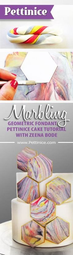 [TUTORIAL ALERT] Get your geometric marble on! http://www.pettinice.com/tutorials/how-to-make-a-geometric-marbled-cake/ #cakedecoratingtechniques