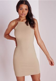 Ribbed 90's Neck Bodycon Dress Camel - Dresses - Bodycon Dresses - Missguided