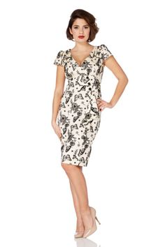 Dita 1950s Style White and Black Butterfly Wiggle Dress | Clarence and Alabama