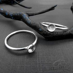 1pcs 925 Sterling Silver Gallery Bezel Setting Ring for by AoryNL